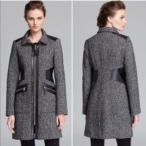 Faux Leather Trim Wool Blend Walking Coat